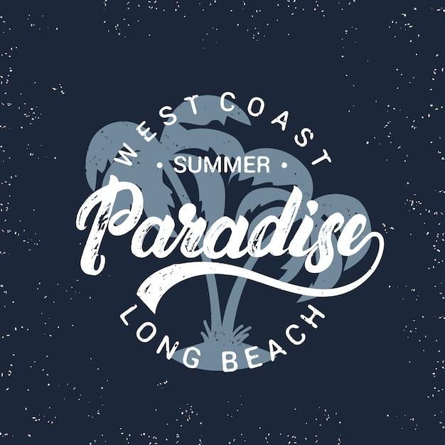 手のひらで夏の楽園手書きレタリング。 Premiumベクター
