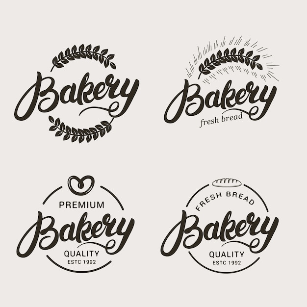 Набор хлебобулочных и хлеба логотип. Premium векторы