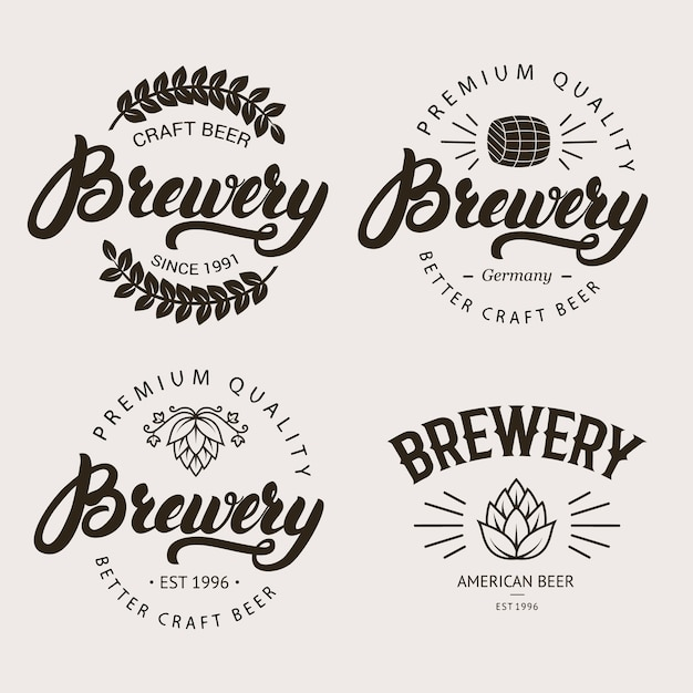 Набор старинных пивоварня значок, ярлык, логотип шаблонов. Premium векторы