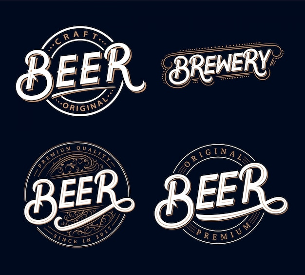 Набор пива и пивоварни рукописные надписи логотипы Premium векторы