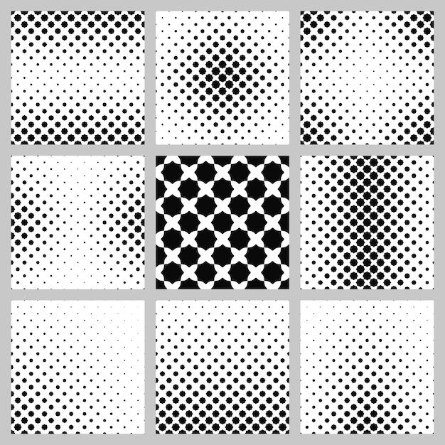 黒と白の八角形のパターンの背景セット 無料ベクター