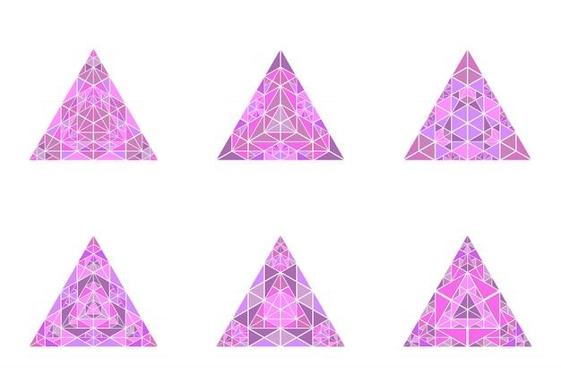 Набор красочных изолированных треугольник пирамиды символ шаблона Premium векторы