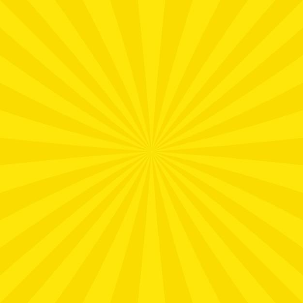 黄色いサンバーストの背景デザイン 無料ベクター