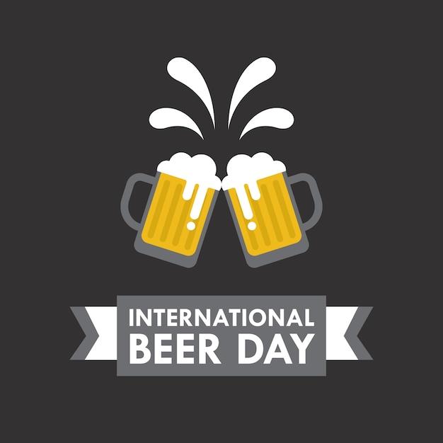 フラットスタイルの国際ビールの日のベクトルイラスト 無料ベクター