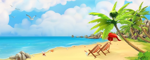 トロピカルビーチ Premiumベクター