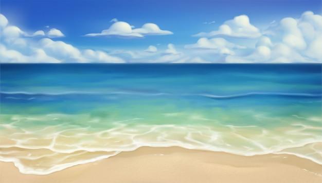 夏のビーチの背景 Premiumベクター