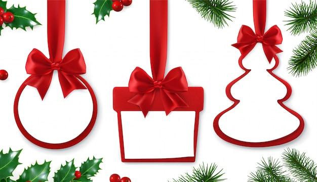 Подарок с украшением листьев дерева Premium векторы