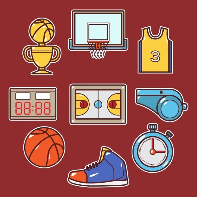 バスケットボール要素の設計 無料ベクター