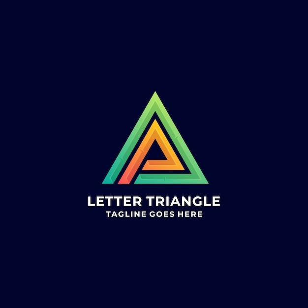 Логотип иллюстрация абстрактные буква треугольник градиент красочный Premium векторы