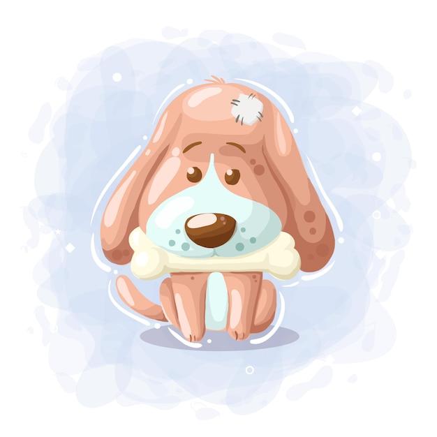 Мультфильм милая собака с костью Premium векторы