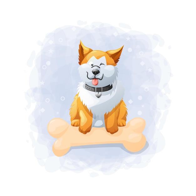 漫画かわいい犬イラスト Premiumベクター
