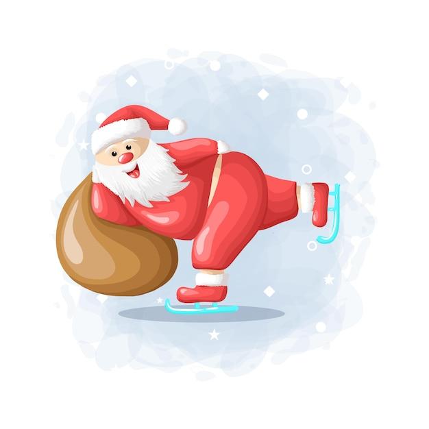 漫画かわいいサンタクロースメリークリスマスイラスト Premiumベクター