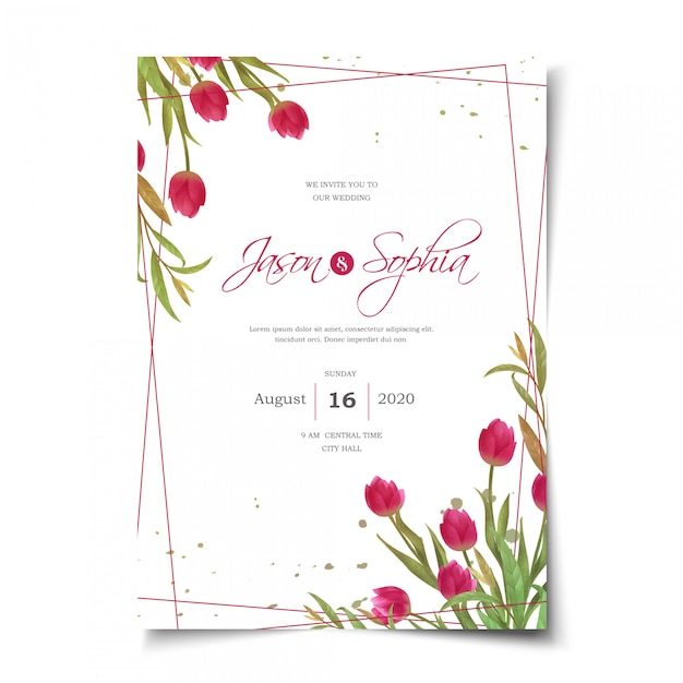 Приглашение на свадьбу акварель красные тюльпаны Premium векторы