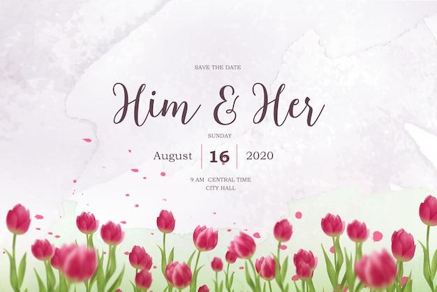 Акварель красные тюльпаны свадебные приглашения Premium векторы