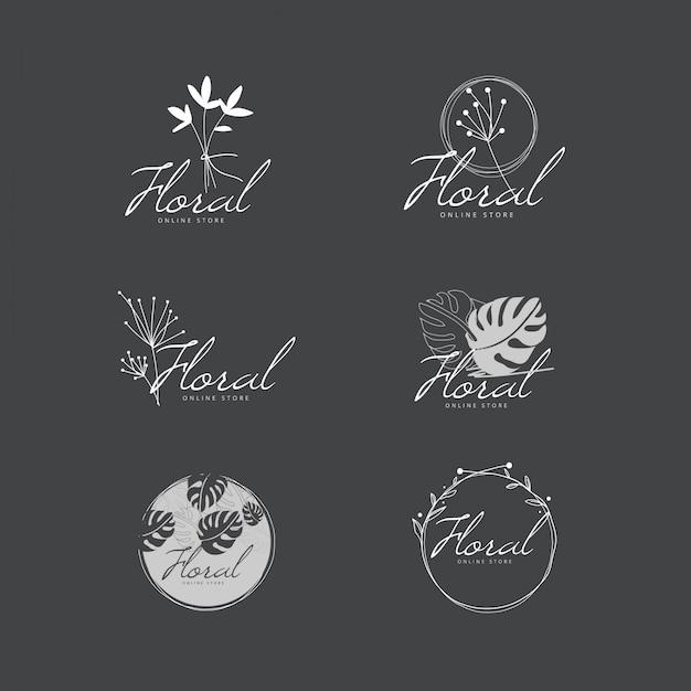 エレガントな最小限の花のロゴコレクション Premiumベクター
