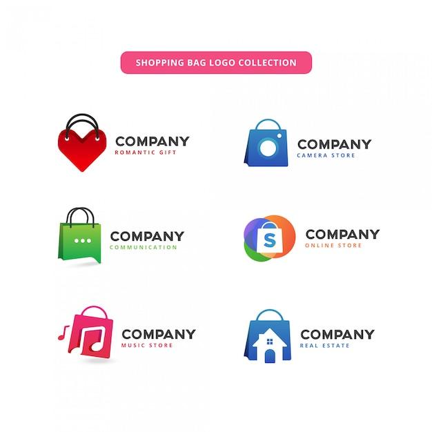 ショッピングバッグのロゴコレクション Premiumベクター