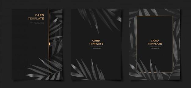 ゴールドフレームチラシセットとエレガントな熱帯の葉 Premiumベクター