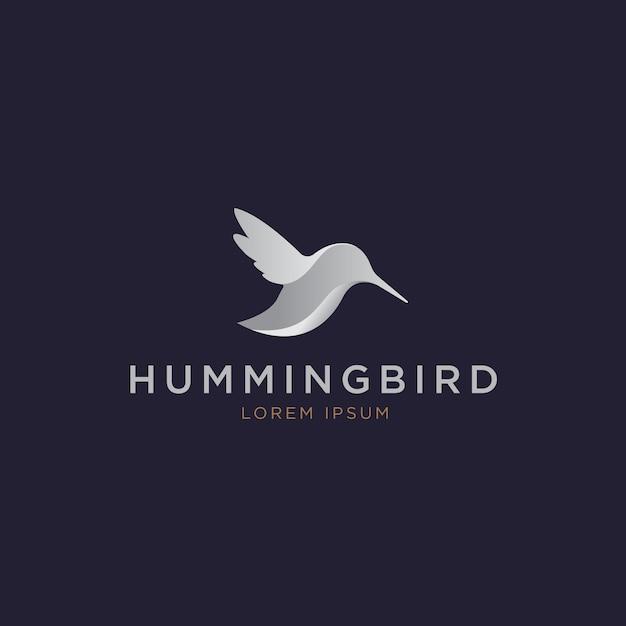 シルバーのエレガントなハチドリのロゴ Premiumベクター