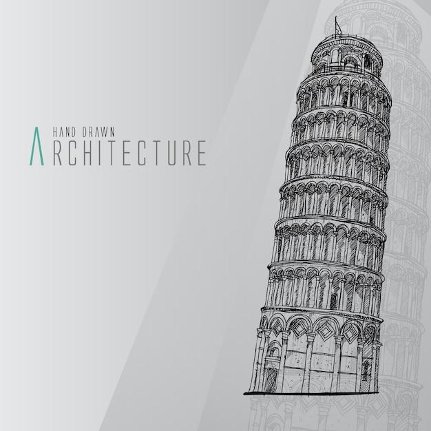 Ручная обращается башня пиза Бесплатные векторы