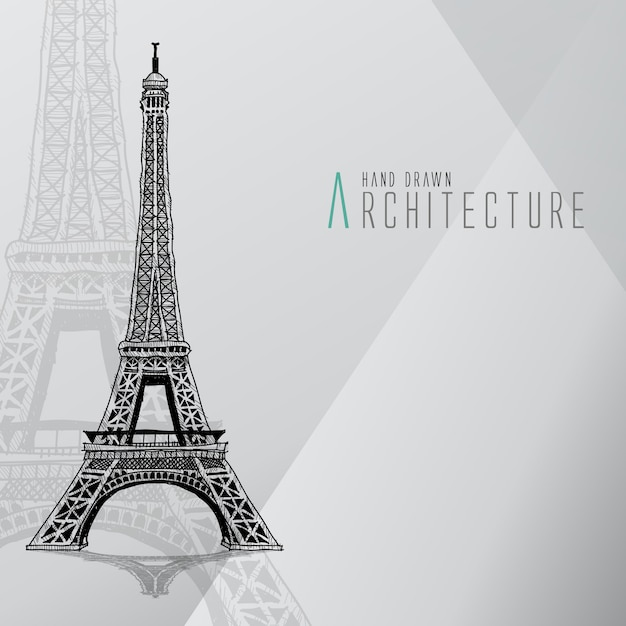 Ручная роспись эйфелевой башни Бесплатные векторы