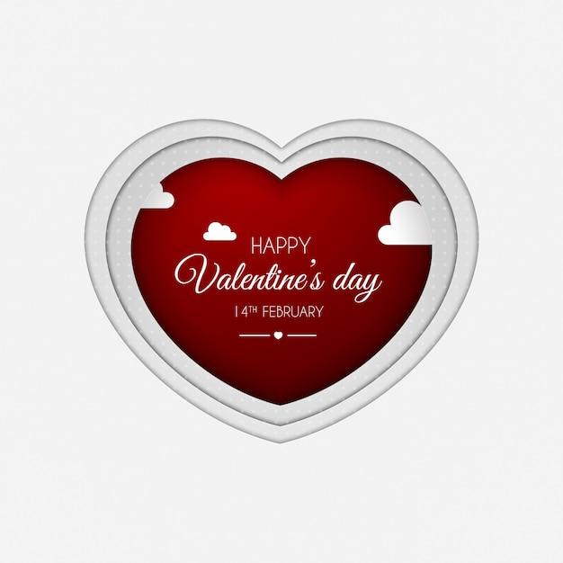 紙はバレンタインデーのアートスタイルの心をカット Premiumベクター