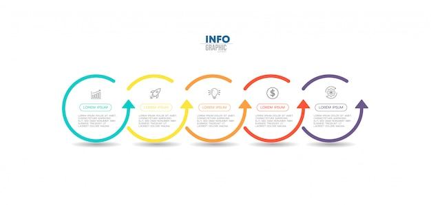 Инфографики элемент с иконками и пять вариантов или шагов. может использоваться для процесса, презентации, диаграммы, макета рабочего процесса, информационного графика, веб-дизайна. Premium векторы