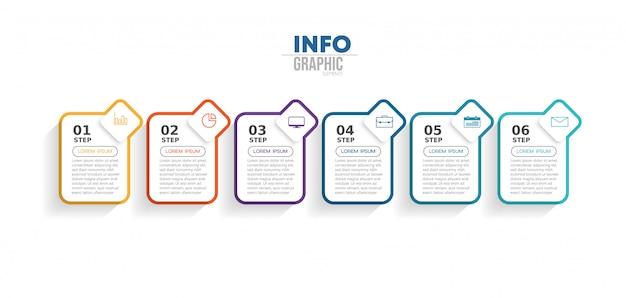 アイコンとオプションまたは手順を持つインフォグラフィック要素。 Premiumベクター