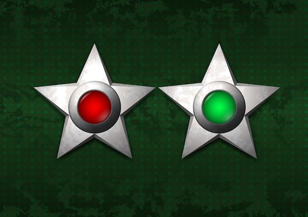 金属星のオンとオフ Premiumベクター