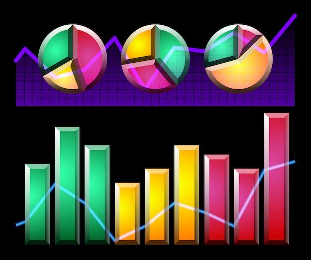 Инфографические элементы и диаграммы Premium векторы