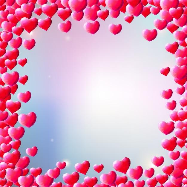 散乱宝石の心とバレンタインデーの背景 Premiumベクター