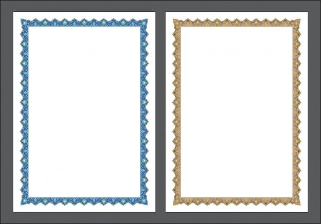 Исламское искусство граница и рамка для внутренней молитвенника, готово добавить текст Premium векторы