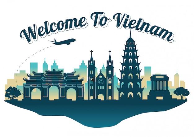 Вьетнамская знаменитая достопримечательность в стиле силуэт на острове, путешествия и туризм Premium векторы