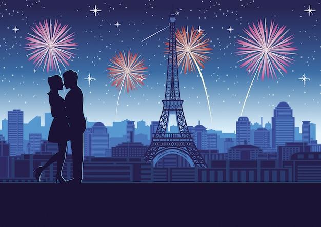 Пара обнимаются возле крыши башни Premium векторы