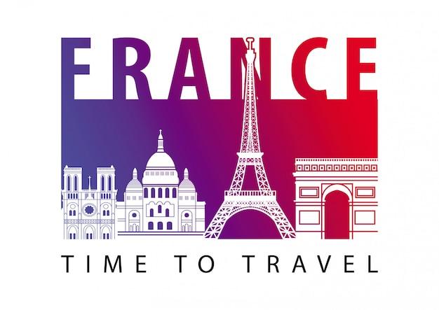 Франция известнейшая достопримечательность в стиле силуэт на плавучем острове Premium векторы