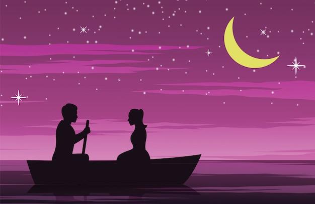 行ボートでカップルデート Premiumベクター