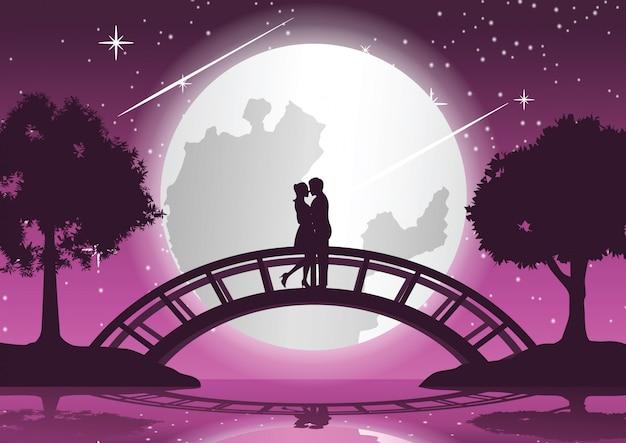 カップルが一緒に抱擁し、橋の上でキスします。 Premiumベクター