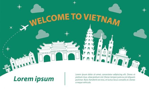 Знаменитая достопримечательность вьетнама силуэт дизайн Premium векторы