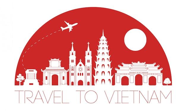 Вьетнам знаменитая достопримечательность силуэт дизайн Premium векторы