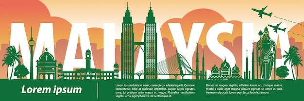 Малайзия известный ориентир силуэт стиль Premium векторы