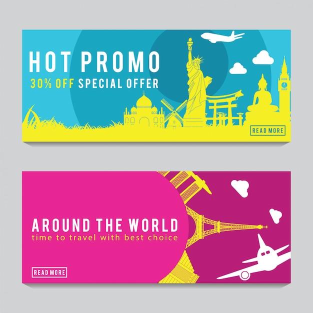 Яркий и красочный рекламный баннер Premium векторы