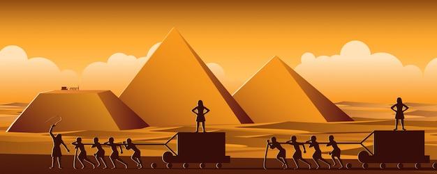 エジプトのピラミッドの構築 Premiumベクター