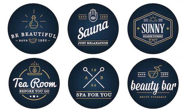 ベクトルスパ美容ヨガスポーツ要素図のセットは、プレミアム品質のロゴやアイコンとして使用できます。 Premiumベクター