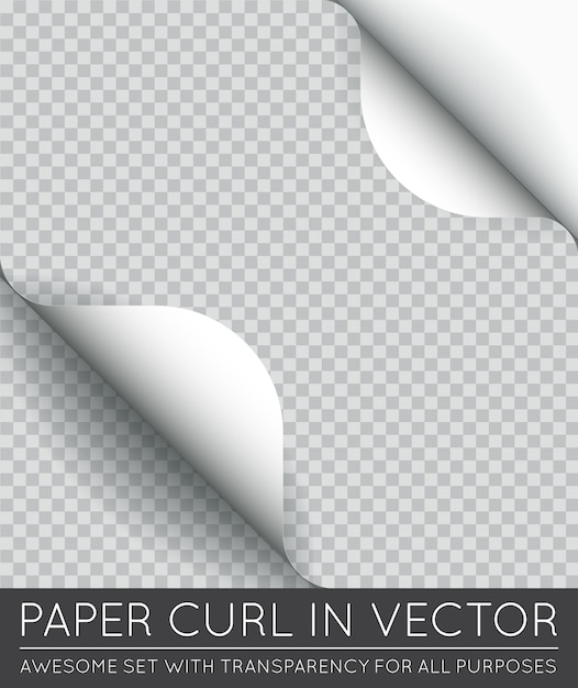 分離された影付きの紙のページカール。 Premiumベクター