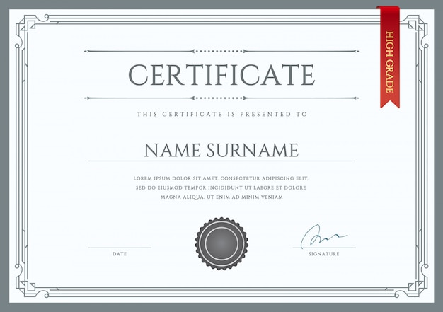 ベクトル証明書または卒業証書のテンプレート Premiumベクター