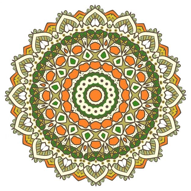 民族フラクタルマンダラベクトル瞑想はスノーフレークやマヤアステカのように見えます Premiumベクター