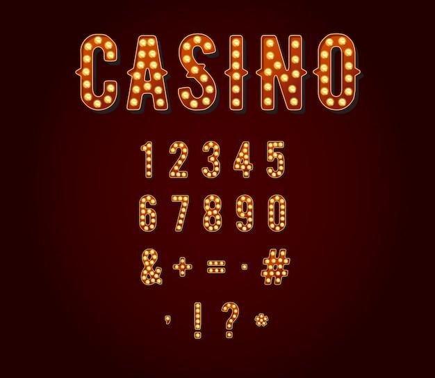 カジノまたはブロードウェイの看板風電球数字または数字 Premiumベクター