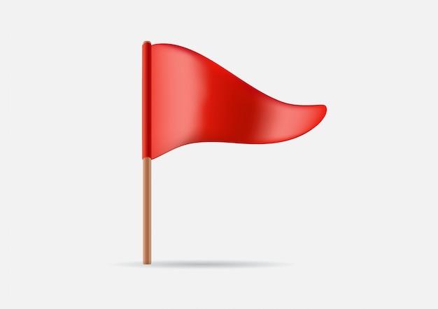 赤い三角形の手を振る旗のアイコン。 Premiumベクター