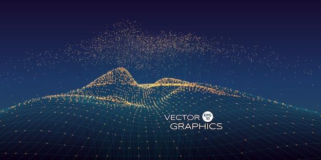 Кибер вектор пейзаж из каркаса и частиц с ростом частиц выше с соединительной линией. концепция современного дизайна для иллюстрации технологии, больших данных. Premium векторы