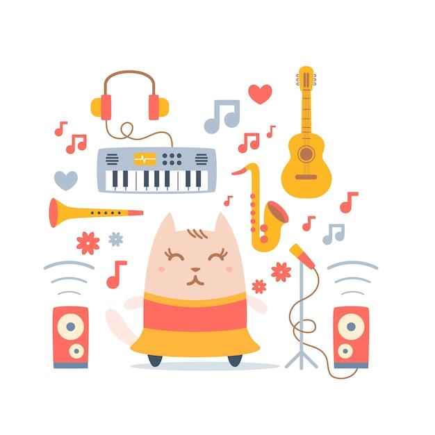 楽器とドレスの文字猫ダンサー Premiumベクター
