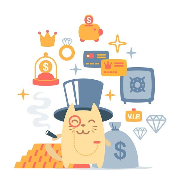 Персонаж кота богатого джентльмена в шляпе-цилиндре Premium векторы